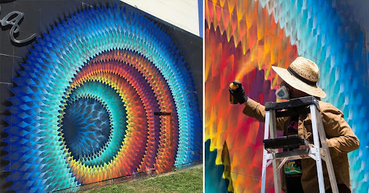 Rippled Portals of Color Created with Spray Paint by HOXXOH