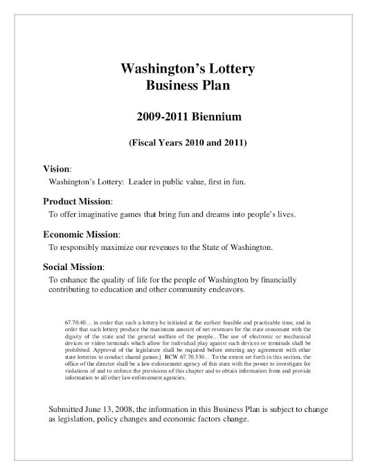 Lottery business plan