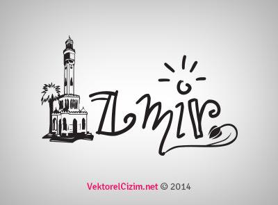 Vektörel çizim Izmir şehir Silüeti