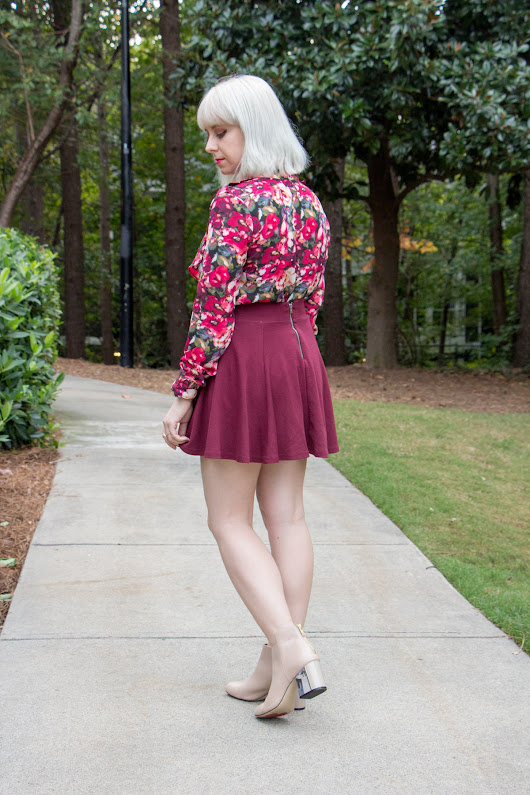 Outfit: Nude Lucite Heel Boots with a Floral Blouse and Maroon Skater Skirt