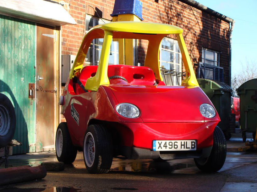 adult-sized little tikes car takes to the city streets