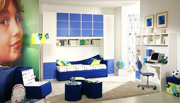 jugendzimmer junge ideen maritimblau weiß gestreifte wand
