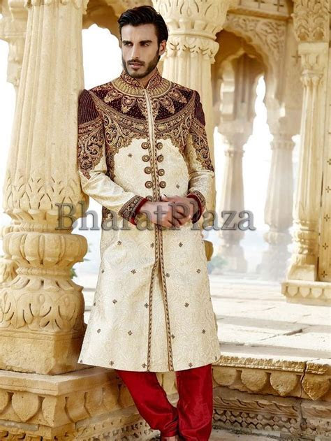 Royal look cream color jacquard #Sherwani ornamented with