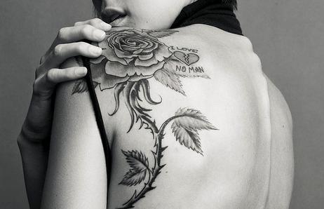 Girl Left Back Shoulder Rose Tattoo
