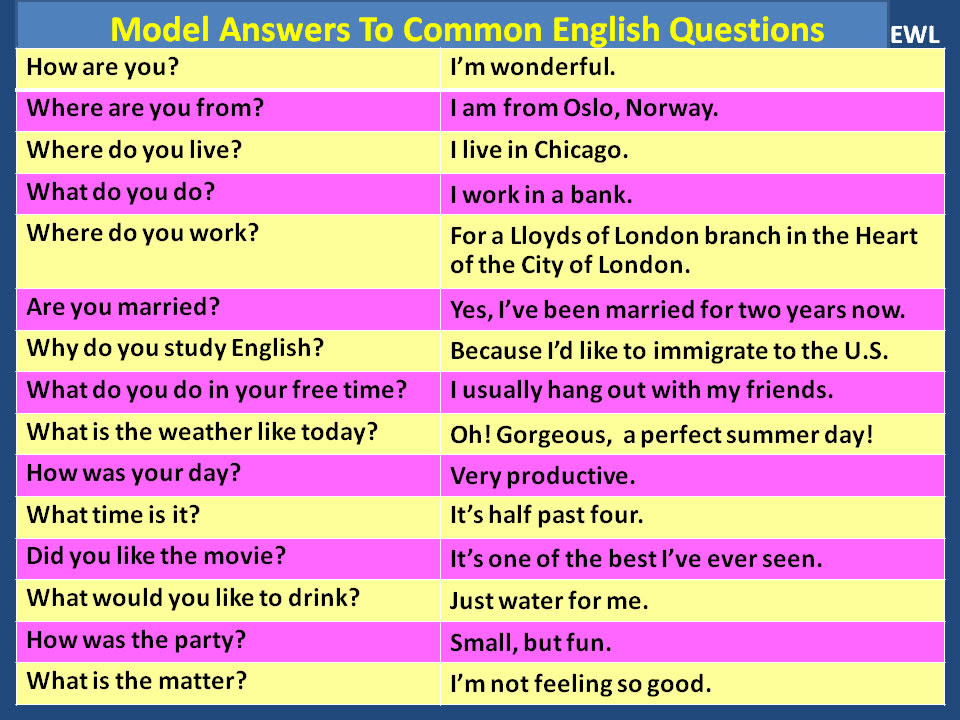 Model Answers to Common English Questions | Vocabulary Home