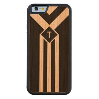White Stripes and Chevrons on Black with Monogram Carved® Cherry iPhone 6 Bumper