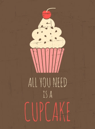 Vintage style poster with cupcake  Stock Photo - 18979847