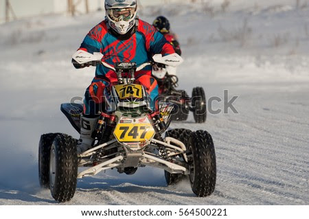BREKHOVO, MOSCOW REGION, RUSSIA - JANUARY 21, 2017: M. Tolkachyov (747) during Winter open cup of DOSAAF MX Speedway on January 21, 2017