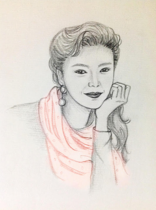 Pencil Drawing of Girl with Pink Scarf
