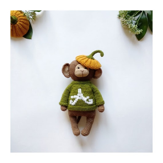 Personalized baby gift name Halloween toy Gift pregnant daughter Customized monkey Organic maternity Halloween baby toy Expecting gift mom