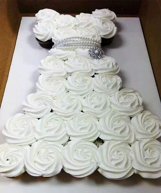 Cupcake wedding dress for a bride to be. Love this!