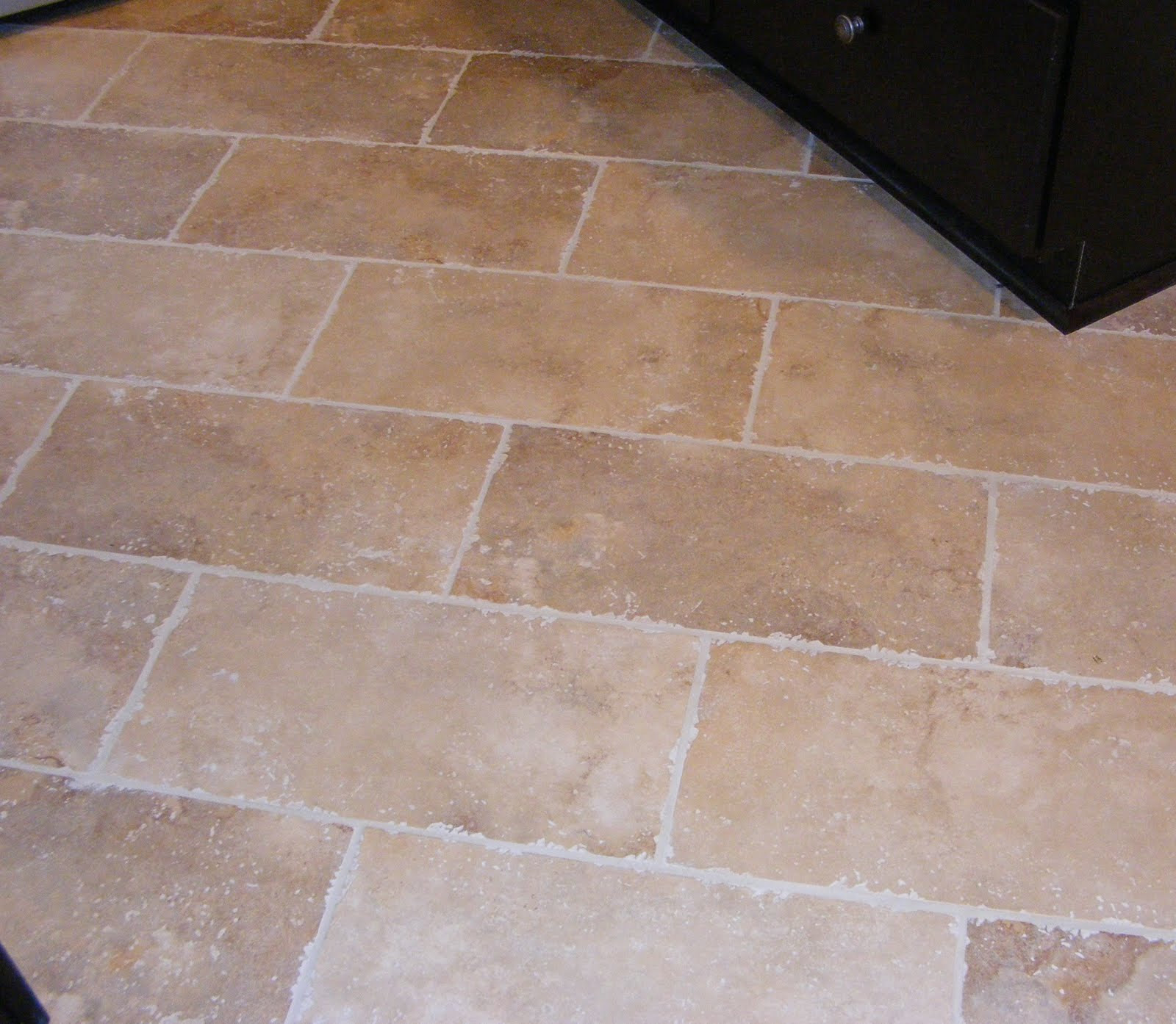 Rectangular Cream Tile Kitchen Floor