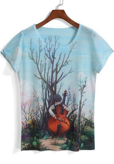 Blue Short Sleeve Violin Boy Print T-Shirt pictures