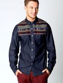 Pattern Knit Denim Shirt