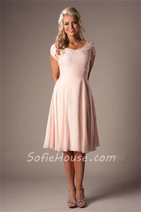 Modest A Line Sweetheart Short Sleeves Blush Pink Chiffon