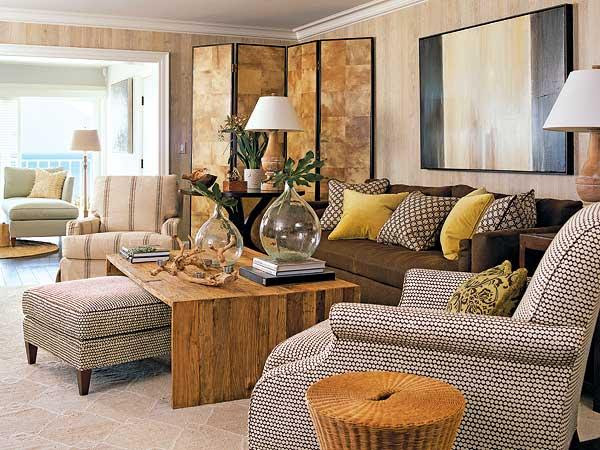 Yellow And Brown Living Room Decor - Modern House