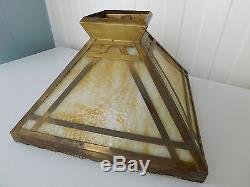 Vintage Arts & Crafts Mission Slag Glass Brass Antique ...