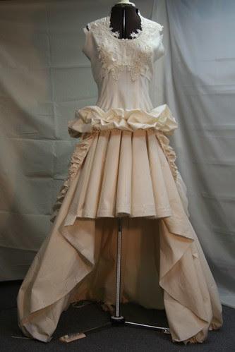 vintage wedding gown -muslin ruched peplum front