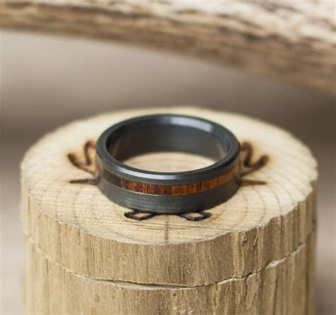 BLACK ZIRCONIUM W/ IRONWOOD INLAY WEDDING BAND ? Staghead