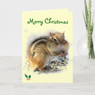 Feasting Chipmunk Christmas card