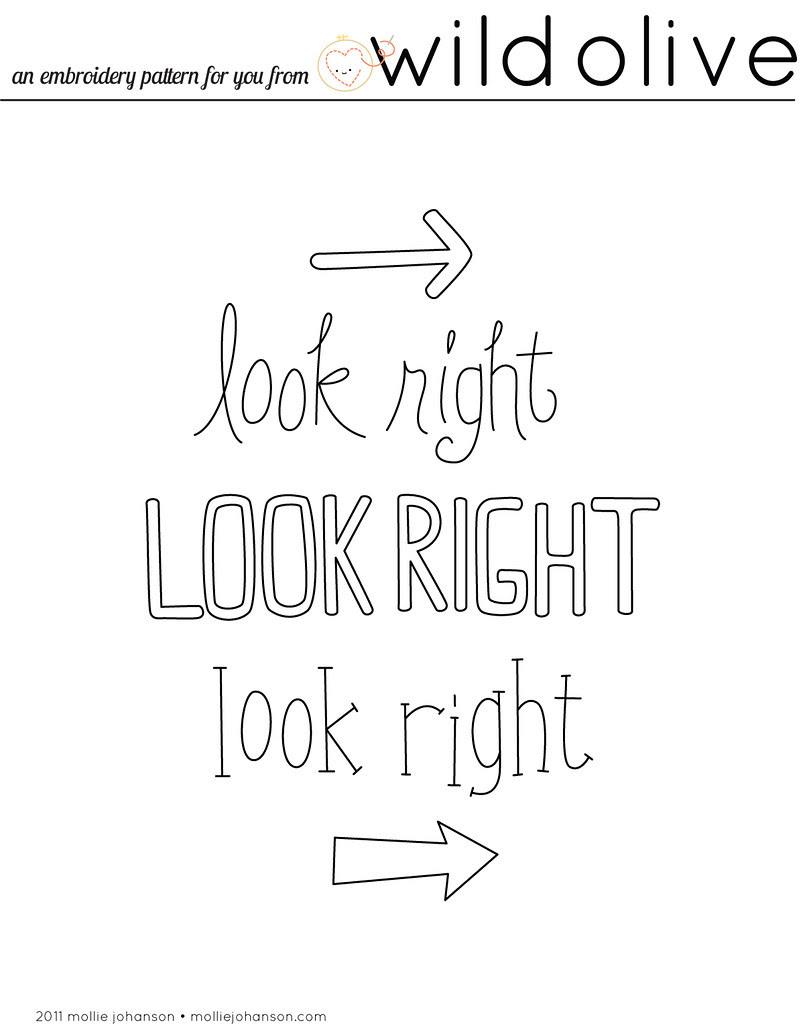 Look Right Free Embroidery Pattern
