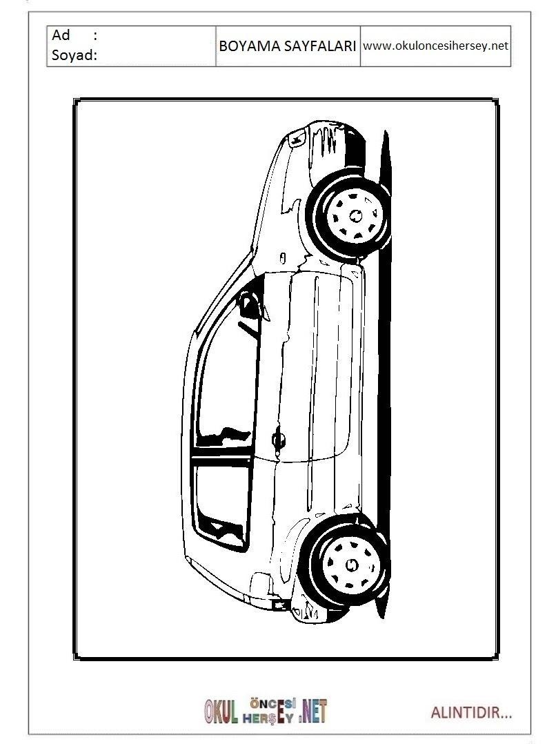Araba Boyama Sayfaları