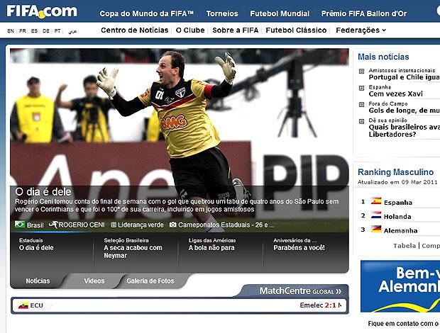 site da FIFA sobre Rogério Ceni (Foto: Reprodução / Site Oficial)