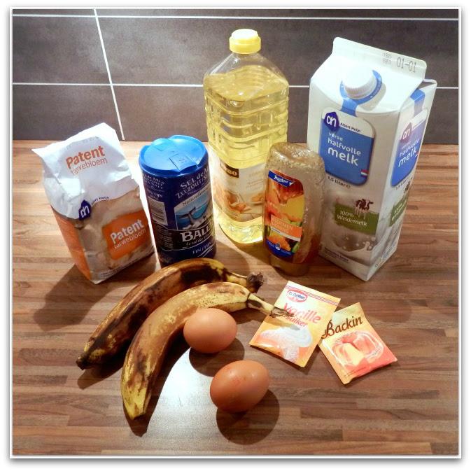 Ingredienten gezond tussendoortje: bananenmuffins
