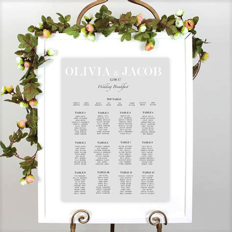 modern traditional wedding table plan by beija flor studio