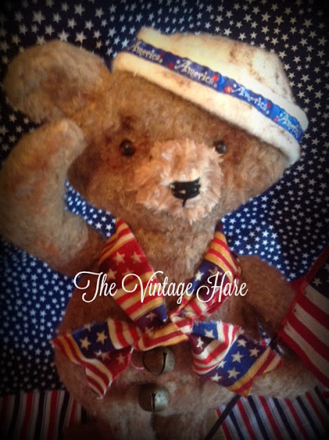 Primitive Americana Sailor Bear Patriotic Flag by VintageHare