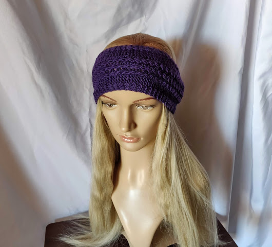 Purple knit wool headband Wool Mohair blend ear muff ear warmer – 910woolgathering