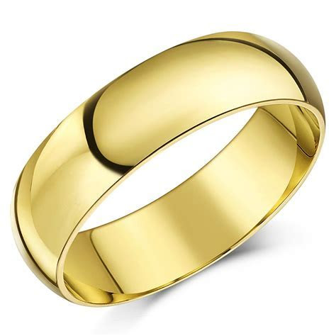 9ct Yellow Gold Ring Court Shape Hollow Wedding Band 4mm