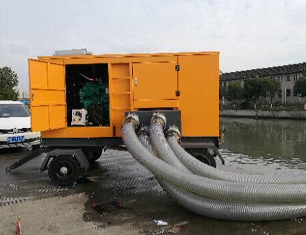 Pertanian Memindahkan Pompa Air 8 Inch Pompa Air Diesel Portabel Mesin Cummins