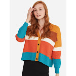 StateCashmere Cotton Cashmere Stripe Texture Cardigan Multi Combo
