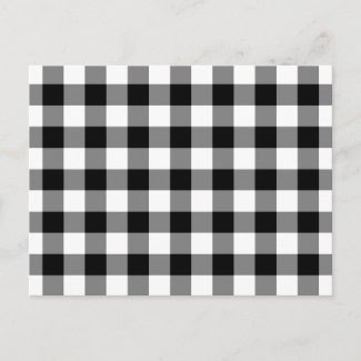 Black and White Gingham Pattern Postcards