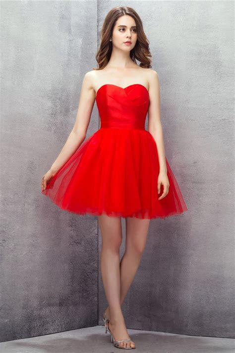 Red Sweetheart Mini Short Tulle Prom Dress #YH0112 $92