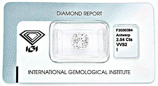 Original-Foto 1, 2,047 IGI-ZERTIFIKAT ZWEIKARÄTER SUPER-QUALITÄT DIAMOND