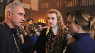 Director Roland Emmerich, Xavier Samuel and Tamara Harvey, Theatre Plays (on stage) Director on the set of Columbia Pictures' Anonymous