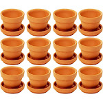 12-Pack Terra Cotta Pots with Saucer, Mini Small Terracotta Flower Clay Pots Planters With Saucer Ceramic Pottery Nursery Indoor Outdoor Gardening for