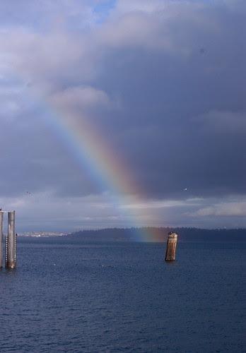 rainbow off the ferry dock