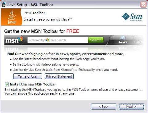 Sun Java promoting the MSN Toolbar