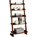 Furniture of America Wood Lugo Contemporary Leaning 5 Tier Ladder Shelf Bookcase by VM Express
