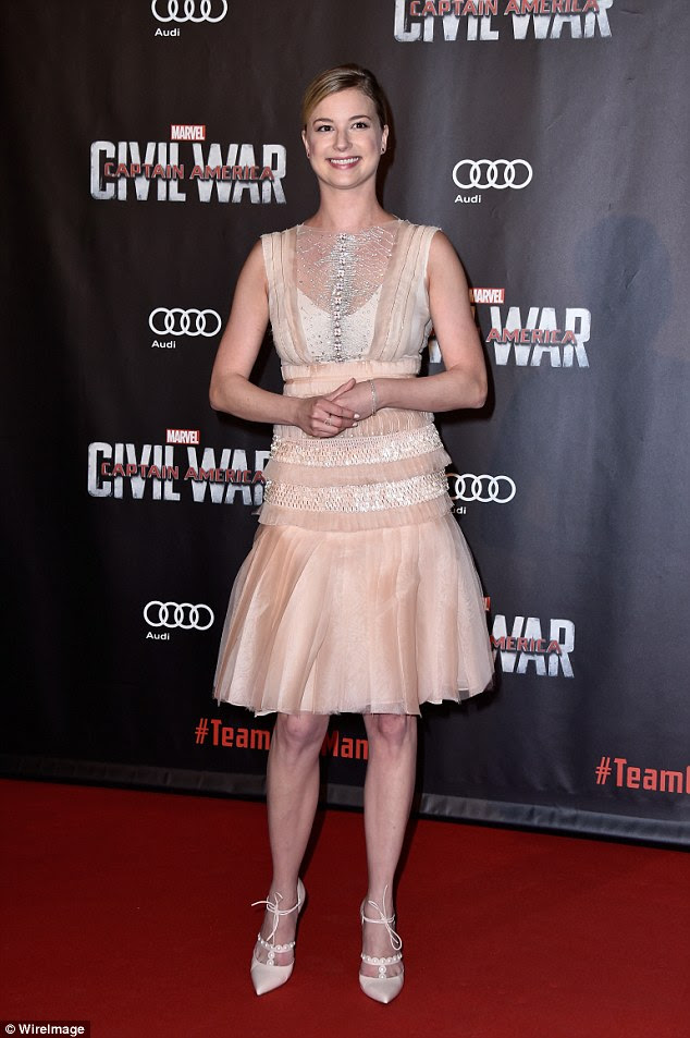 Stunner:The 29-year-old Canadian, who plays Sharon Carter in the movie, dazzled in a flirty peach mini dress with a frothy hem and sheer detailing
