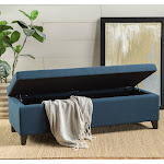 York Fabric Storage Ottoman Bench by Christopher Knight Home Navy