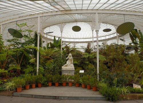 Glasgow Botanical Garden Kibble Palace greenhouse glasshouse plants eve statue