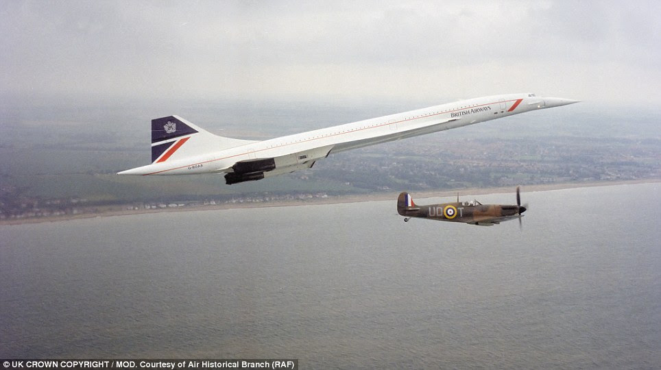 Old and new: A special formation to mark the 50th Anniversary of the Battle of Britain was flown along the south coast in June 1990 with a Concorde and a Spitfire