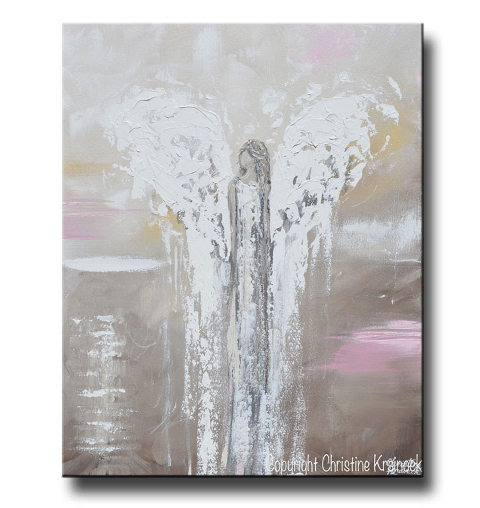 Original Abstract Angel Painting Beige White Pink Textured Wall Art Contemporary Art By Christine