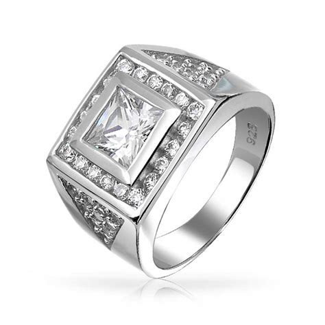 Square Princess Cut CZ Pave Triangles Mens Engagament Ring