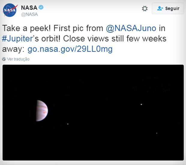 Primeira imagem da órbita de Júpiter (Foto: Reprodução/Twitter)