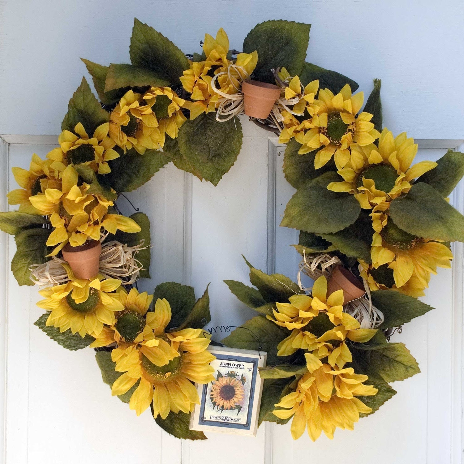 Sunflower Wreath Spring Decor Wreath Front Door by JPotterBlooms